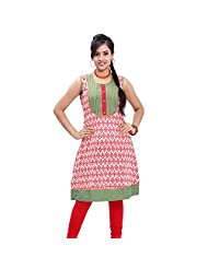 Rama's Women Cotton Multi Coloured Kurti Hand Work - B00Q6U7S5I