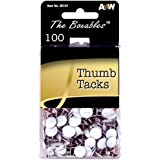 A&W Products Boxable Thumbtacks, White, 100-Count Box (46107)