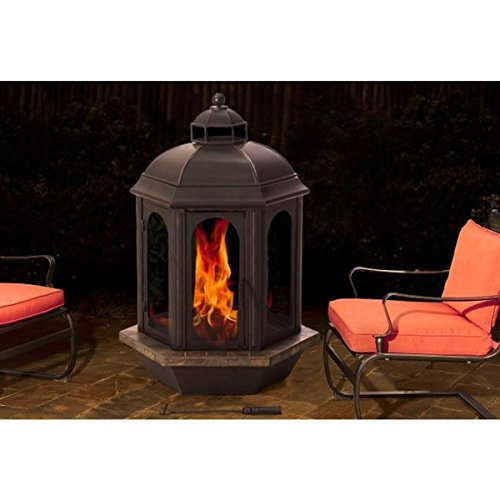 Sunjoy Ava 52-inch Slate and Steel Outdoor Fireplace (Lpg Wall Heater compare prices)