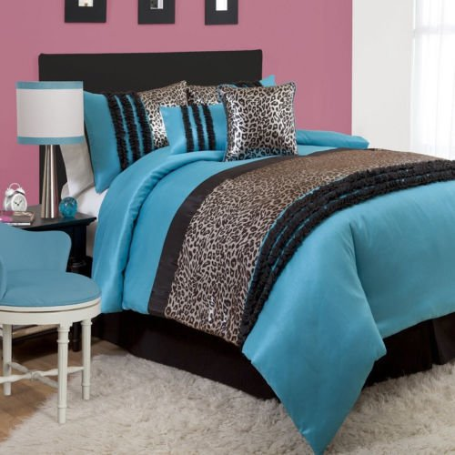 Full 6-Piece Comforter Set Girl Teenager Animal Print Shams Pillows Bed In A Bag front-1010598