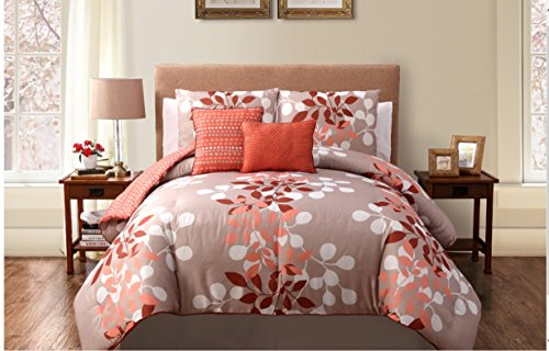5 Piece Orange Reversible Comforter Set Bed In A Bag Queen Size Bedding By Plush C Collection front-159039