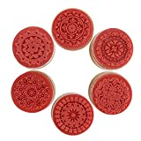 DECORA 6 Pieces Floral Pattern Round Wooden Rubber Stamp for Scrapbooking