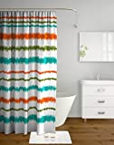 Tangerine Polyester Shower Curtain with Hooks (8903813199119)