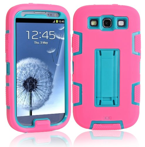 Magicsky Robot Series Hybrid Armored Case With Kickstand For Samsung Galaxy Iii S3 I9300 - 1 Pack - Retail Packaging - Blue/Hot Pink
