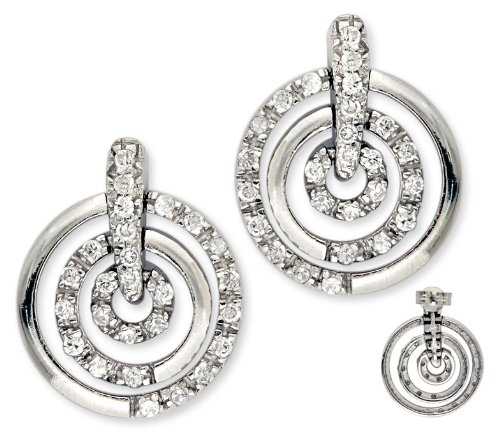 Tuesday's 925 Sterling Silver Button Earrings 3-Circle Set w/ Cubic Zirconia Accent - Incl. ClassicDiamondHouse Free Gift Box & Cleaning Cloth