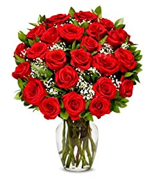 From You Flowers - Two Dozen Long Stemmed Red Roses (Free Vase Included)