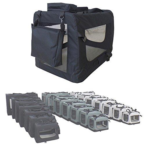 Faltbare-Transportbox-Transporttasche-Faltbox-Hundetransportbox-Hund-Katze-Auto-7-Gren-3-Farben-petigi-FarbeSchwarzGreXL-85-x-59-x-58-cm