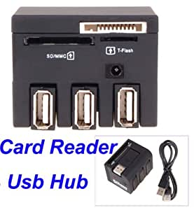 Neewer 3 Port USB 2.0 Hub TF Micro SD MS M2 Memory Card Reader