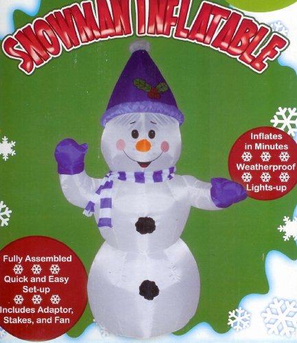 Snowman Blue Scarf & Santa Hat 4 Ft. Christmas