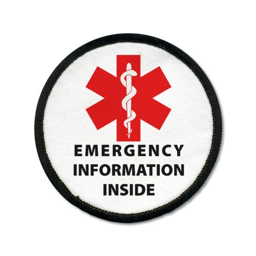 Emergency Information Inside Red Medical Alert Black Rim 3 inch Sew-on Patch