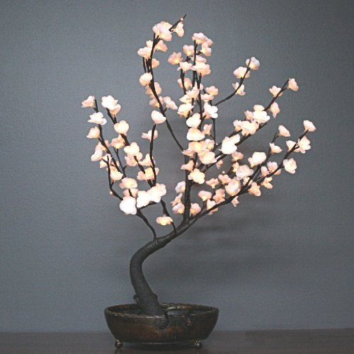The Light Garden BNSWT128 Bonsai Tree with White Flowers in Decorative Bowl, 128 Lights