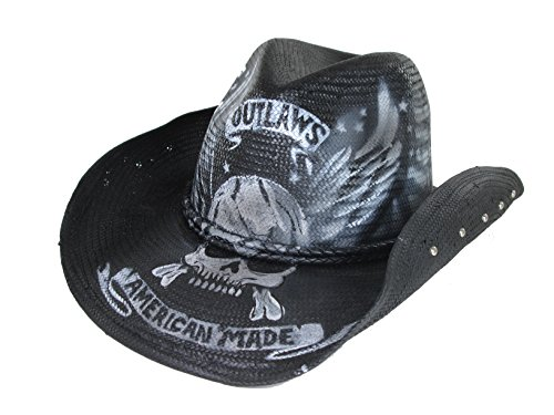 PETER GRIMM UNIQUE AMERICAN MADE OUTLAW SKULL BONES AIR BRUSH DRIFTER COWBOY  HAT 8d494f96a3a