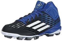 adidas Performance Poweralley 3 TPU Mid J Baseball Shoe (Little Kid/Big Kid), Black/White/Collegiate Royal, 3.5 M US Big Kid