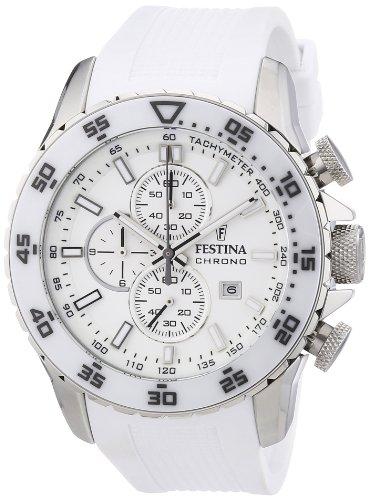 Festina Sport Chrono F16642/1 - Reloj cronógrafo de cuarzo para hombre, correa de goma color blanco (cronómetro, agujas luminiscentes, cifras luminiscentes)