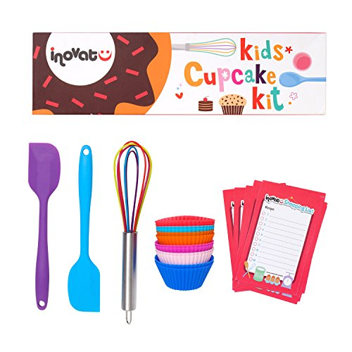 Kids Cupcake Kit - 15 Pieces - Colorful Gift Box - Perfect Children Baking Set - Quality Whisk, Spatulas and Cupcake Cups - Ideal Kids Kitchen Set - Bonus Shopping Lists & Coupon