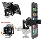 ChargerCity Exclusive Apple iPhone 6 5s 5c 5 4s Plus Samsung Galaxy S6 S5 S4 Note 4 3 HTC ONE Google Nexus 4 5 ONEPLUS Motorola MOTO G X Droid LG G3 G4 G Pro Sony Xperia Z 360º Swivel Adjustment Selfie Video Recording Camera Tripod Adapter Mount & MegaGrab Easy-Adjust Smartphone Holder (Phone & Tripod is not included with Purchase) *Version 2*