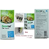 Drontal for Cats, Round and Tapewormer, 8 Tablets No Box!!, [Get Free Jelly Queese for Cat ]