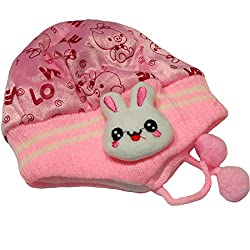 Bubbles Baby Kids Woolen Cap With Side Protection- Pack of 1 (0-12 Months) (Pink)