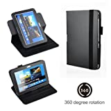Eallc Smart Leather Stand Case Cover for Samsung Galaxy Note 10.1 2nd Gen Tablet 2014 Edition P600 P601 with Auto Sleep Wake Function +Stylus Pen & Screen Protector Film (N8000/360 Rotating Black)