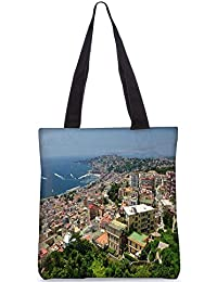 Snoogg City From The Top Digitally Printed Utility Tote Bag Handbag Made Of Poly Canvas