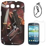 DMG Night Glow Hard Back Cover Case For Samsung Galaxy S3 Neo GT-I9300I (Pistol) + Black Earphones + Matte Screen...