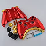 Chrome Red Full Shell Case with Gold Buttons for Xbox 360 Wireless Controller