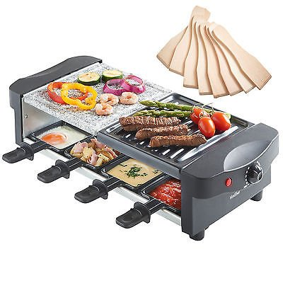 King of Raclette RECTANGULAR Party BBQ Grill with Temperature Control & Safety Indicator Electric Nonstick BBQ Indoor Grill / Outdoor Grills for up to 8 People (Mini Indoor Electric Grill compare prices)