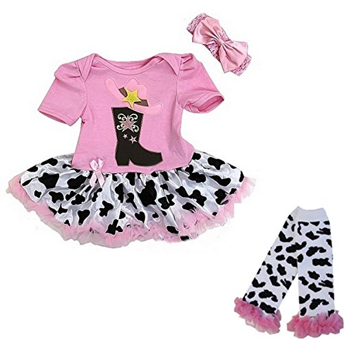 Baby Pink Cowgirl Boots Bodysuit Tutu Leg Warmers Set