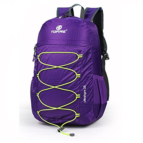 46fd600b8656 TOFINE Large Hiking Travel Camping Gear Light Weight Foldable Waterproof  Portable Backpack 25 Liter Purple