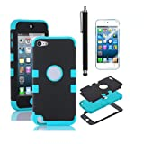 APT® High Impact Heavy Duty Two Tone Hard and Soft Hybrid Rugged Armor Sports Combo Case for Apple iPod Touch 5 5th Generation (Blue& Black, Ipod touch 5)