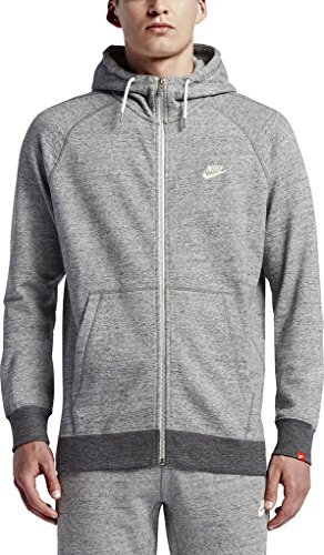 Nike Mens Sportswear Legacy Hooded Sweatshirt Carbon Heather/Sail 805057-091 Size X-Large
