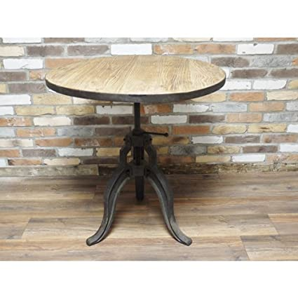 Vintage Distressed Industrial Grey Brown Retro Adjustable Round Kitchen Side Table (D4493) ** Full Range of Matching Furniture is Available**