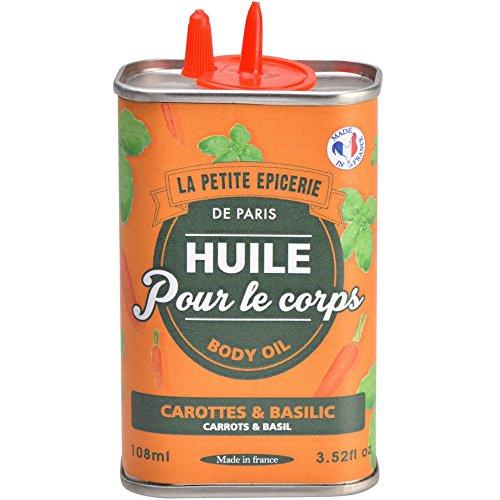 Burette d'Huile pour le corps Carotte et basilic Orange La petite épicerie de Paris 35-1S-814