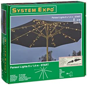 System expo 484 37 cadena de luces para sombrillas for Sombrillas jardin amazon
