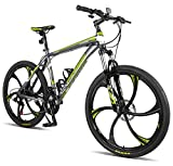 "Merax Finiss 26"" Aluminum 21 Speed Mg Alloy Wheel Mountain Bike (Classic Gray&Green)"