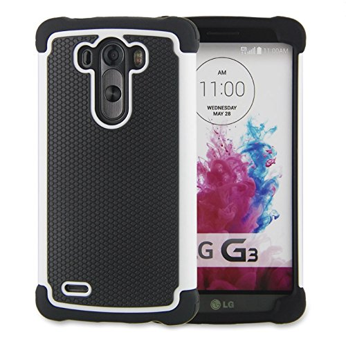 LG G3 Case,G3 Case Protective*HOT* [Drop Protection][shockproof][Rugged],Rubber+Hard case cover and Dual Layer Protective Case for LG G3(2015)-(white) (Lg G3 Phone Case Speck compare prices)