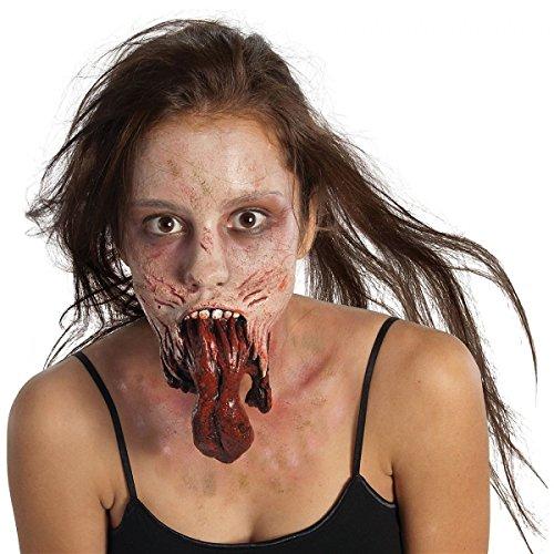 [GSG Split Jaw Zombie Mouth Piece Prosthetic Latex Appliance Costume Makeup FX] (Prosthetic Fx Makeup Halloween Masks)