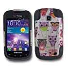 SOGA(TM) Hybrid Dual Layer Hard Case White Black Green Purple Orange Pink Colorful Fancy Owl Print With Black Silicone Skin Phone Cover and Y-Stand Kickstand For Samsung Galaxy Proclaim 720C SCH-S720C / illusion i110 (Straight Talk) / (Verizon) [SWB131]