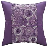 Avarada Striped Rose Bouquet Decorative Throw Pillow Cover 16x16 Inch Purple