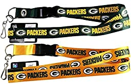 Green Bay Packer (Green + Gold) Lanyard NFL Official Licensed, footballs Key Chain, Set of 2