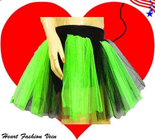 Plus Size Green Black Length 15 Two Layer Two Tone Stripe Tutu Skirt