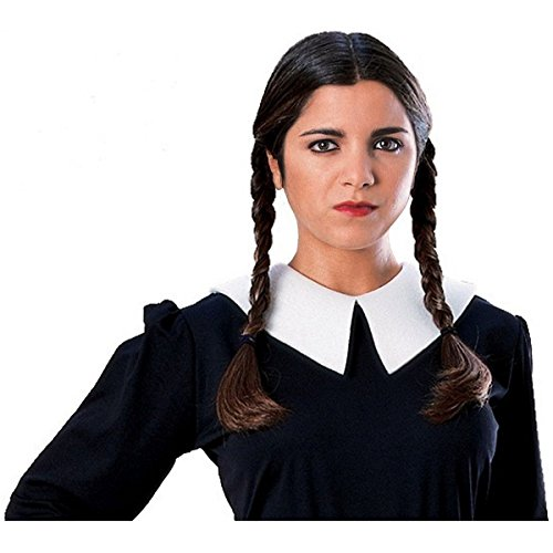 [GSG Wednesday Addams Family Wig Womens Black w/ Braids Halloween Costume Acsry] (The Addams Family Wednesday Costumes)