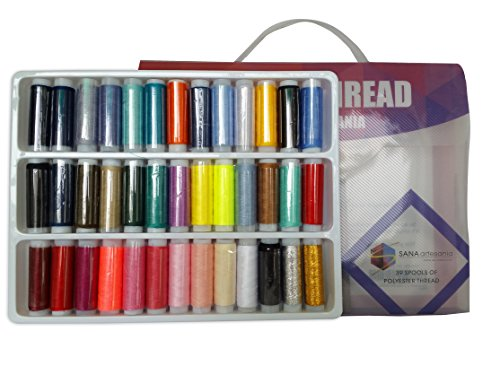 39-spools of 100% polyester thread, assorted colors for all sorts of proojects. Comes in a beautiful, easy to carry pvc plastic case with handle for a Spectacular sewing experiece. So BUY NOW!!