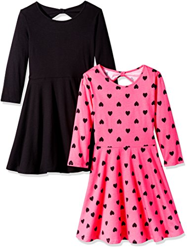 The Children's Place Big Girls' Skater Style Dress (Pack of 2), Black/Pink, M (7/8)