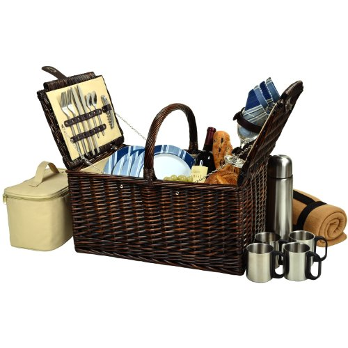 Buy Cheap Picnic at Ascot Buckingham Basket for 4 with Blanket and Coffee, Brown Wicker/Blue Stripe