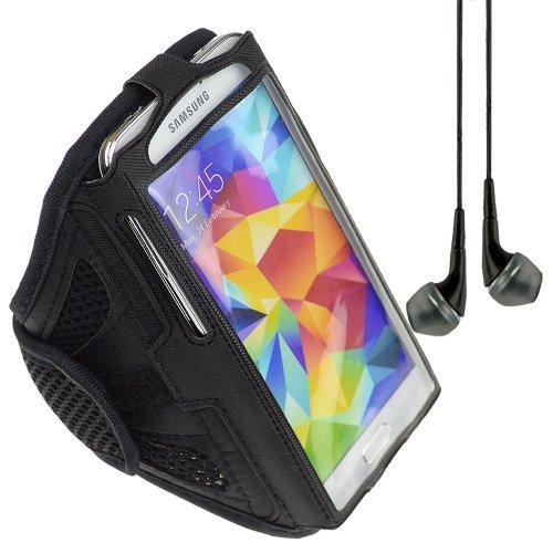 Adjustable Polyester Mesh Fabric Sports Armband For Samsung Galaxy S5 Lg G2 Nokia Lumia 1020 920 928 (Black) + Vangoddy Headphone With Mic (Black)