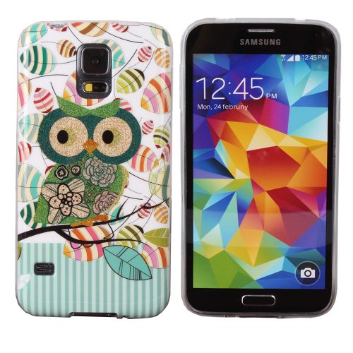 Teenitor(Tm) Stylish Bling Cute Singing Owl Tpu Protective Case For Samsung Galaxy S5,With Screen Protector, Stylus, Earphone Cable Organizer (Shipping From Usa)