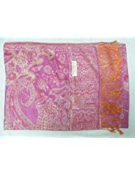 Women's Pashmina 100% Cashmere Scarf- Light Lavendar with Ornate