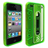 Cbus Wireless Green Flex-Gel Cassette Tape Case / Skin / Cover for Apple iPhone 4s / 4 4G