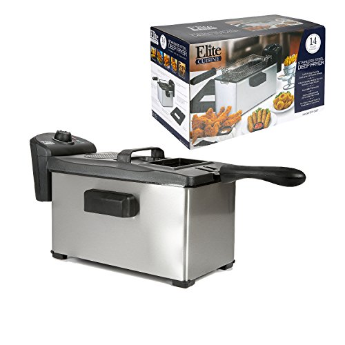 Elite Cuisine EDF-3507 Maxi-Matic 3.5 Quart Immersion Deep Fryer, Stainless Steel (Elite Pressure Cooker Recipe Book compare prices)